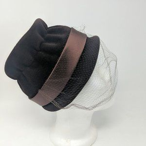 Vintage Velour Brown Velvet Cloche Hat